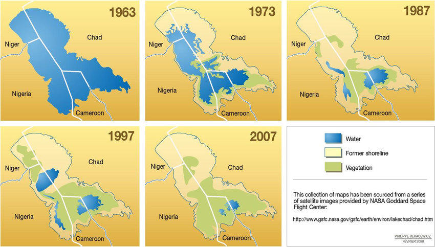Desiccation of the Lake Chad between 1963 and 2007 (source: Rekacewicz 2008)