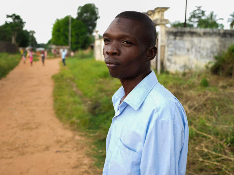 A thoughtful Hamayadi looks on after sharing his story with us in Berberati, Central African Republic.