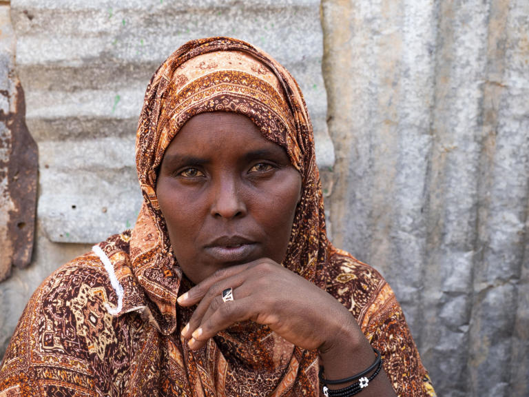 Farhiyo Iishaar Omar fears her daughter was attacked by lions.  Photo: Ingrid Prestetun/NRC