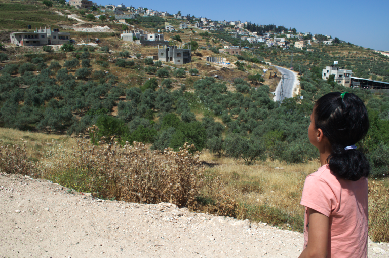"Tasneem looks out toward her safe space, which she has named ""peace land,"" tucked away among a group of trees down the mountain from her home in Madama.  Photo: Ivan Karakashian/NRC"